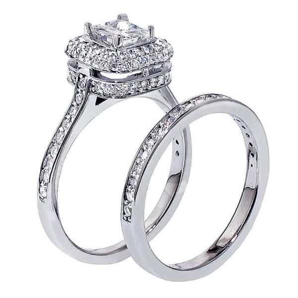 14k White Gold 1 3/4ct TDW Diamond Bridal Ring Set (F-G, SI1-SI2)