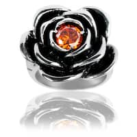 Stainless Steel Red Cubic Zirconia Rose Ring - Silver