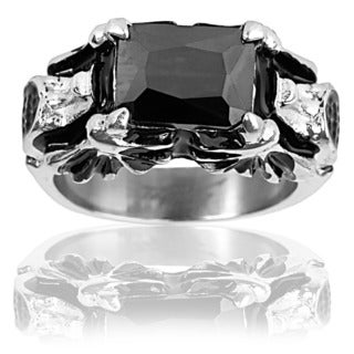 Stainless Steel Onyx Bat Wings Ring - Black
