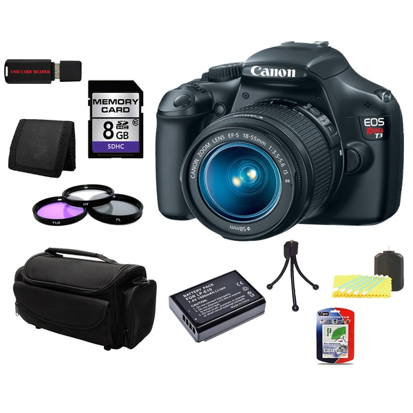 Canon EOS T3 SLR Camera 18-55mm IS II Lens 8GB Bundle