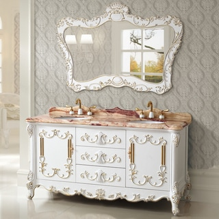 Exquiste Micro Crystal Glaze Red Jade Natural Marble 65-inch Vanity Set in a White Finish