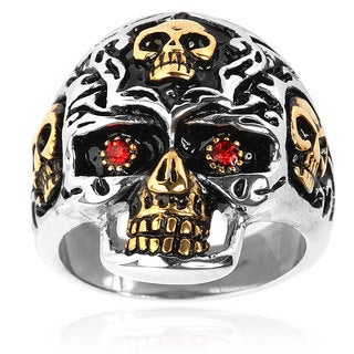 Goldplated Stainless Steel Red Cubic Zirconia Skull Ring