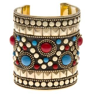 Red/ Turquiose Inset Wide Cuff Bracelet (India)