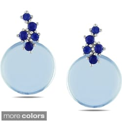 Miadora 10k White Gold Circle Gemstone Earrings