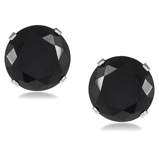 Vance Co. Sterling Silver Black Cubic Zirconia Round 9-mm Stud Earrings