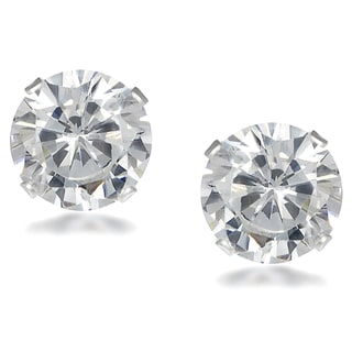 Journee Collection Sterling Silver Round-cut Cubic Zirconia 8 mm Stud Earrings