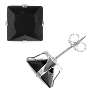 Journee Collection Sterling Silver Black Cubic Zirconia Square 8 mm Stud Earrings