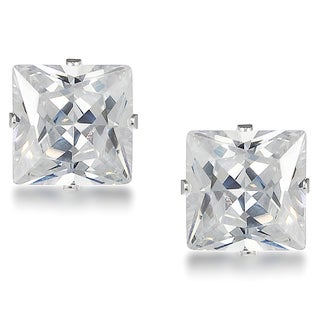 Journee Sterling Silver Cubic Zirconia Square 7-mm Stud Earrings