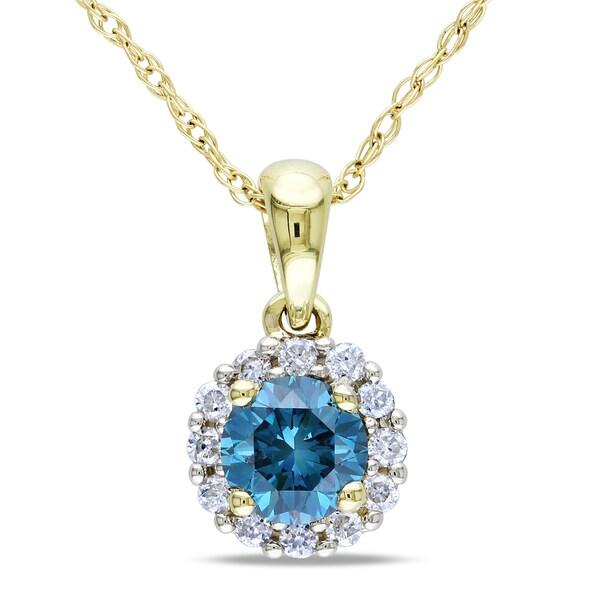 Miadora 10k Gold 1/2ct TDW Blue and White Diamond Necklace