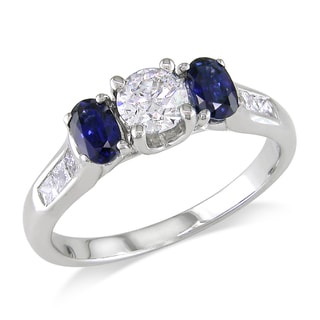 Miadora Signature Collection 14k White Gold 3/4ct TDW Diamond and Sapphire Ring (G-H, I1-I2)