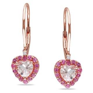 Miadora Rose-plated Silver Morganite, Tourmaline and Diamond Earrings