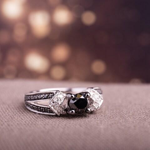 Miadora Sterling Silver with Black Rhodium 1ct TDW Black and White Diamond Split Shank Engagement Ring (G-H, I2-I3)