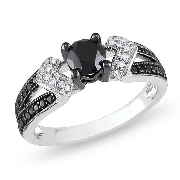Sterling Silver with Black Rhodium 1ct TDW Black and White Diamond Split Shank Engagement Ring by Miadora