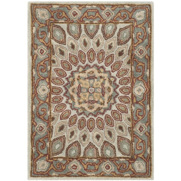 Safavieh Handmade Heritage Timeless Traditional Blue/ Grey Wool Rug - 2' x 3'
