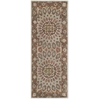 "Safavieh Handmade Heritage Timeless Traditional Blue/ Grey Wool Rug - 2'3"" x 12'"