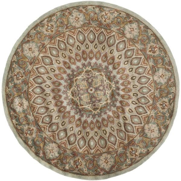 Safavieh Handmade Heritage Timeless Traditional Blue/ Grey Wool Rug (3'6 Round)