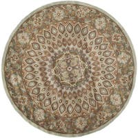 Safavieh Handmade Heritage Timeless Traditional Blue/ Grey Wool Rug - 6' Round