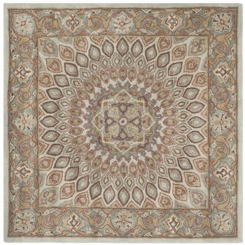 Safavieh Handmade Heritage Timeless Traditional Blue/ Grey Wool Rug - 6' x 6' Square