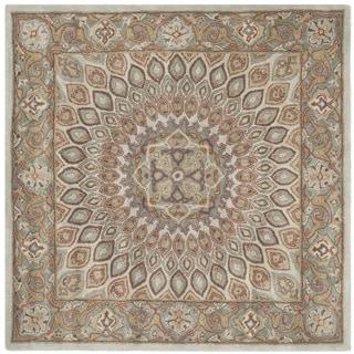 Safavieh Handmade Heritage Timeless Traditional Blue/ Grey Wool Rug (6' Square)