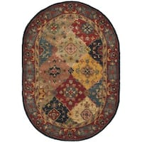 "Safavieh Handmade Heritage Timeless Traditional Red Wool Rug - 4'6"" x 6'6"" Oval"