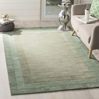 Safavieh Handmade Impressions Modern Beige/ Green New Zealand Wool Rug - 6' Square