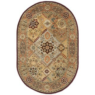Safavieh Handmade Persian Legend Diamonds Multi/ Rust N.Z. Wool Rug (4'6 x 6'6 Oval)