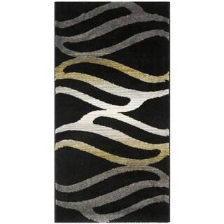 Safavieh Porcello Contemporary Wave Black/ Gold Rug (2' x 3'7)