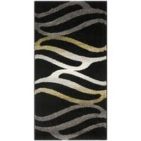 Safavieh Porcello Contemporary Wave Black/ Gold Rug - 2'7 x 5'