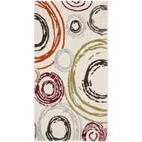 Safavieh Porcello Contemporary Circles Ivory/ Red Rug - 2' x 3'7