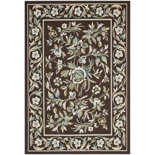 Safavieh Veranda Piled Chocolate Brown/ Aqua Green Rug (6' 7 x 9' 6)