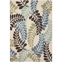 Safavieh Veranda Piled Cream/ Aqua Green Rug - 4' x 5'7