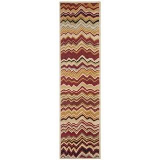 Safavieh Handmade Chatham Zig-Zag Red New Zealand Wool Rug (2'3 x 9')