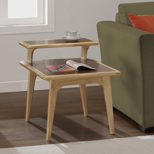 Mid Century Two Tone Coffee Table By Weiman: Mid-century Natural Two-tone End Table