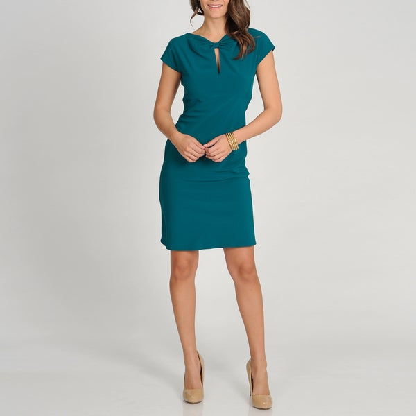 Marina Women's Teal Twist Neck Sheath Dress