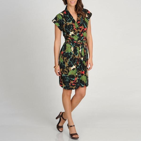 Marina Women's Floral Print Cap Sleeve Wrap Dress