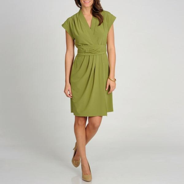 Marina Women's Green Cap Sleeve Sheath Wrap Dress