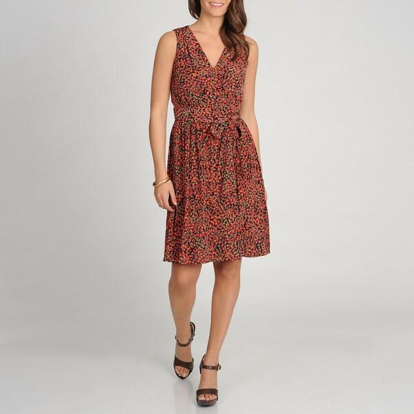 Marina Women's Printed Faux Wrap Sleeveless Dress