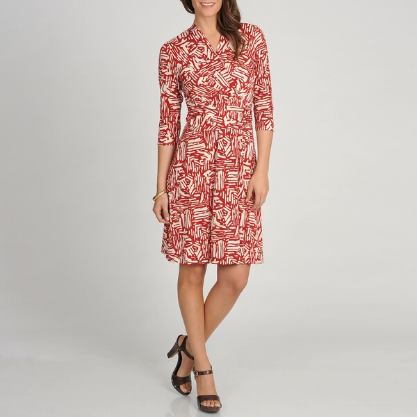 Marina Women's Red Brick Printed Quarter Sleeve Wrap Dress