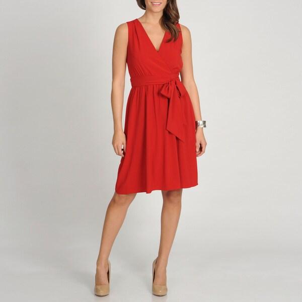 Marina Women's Red Sleeveless Faux Wrap Dress