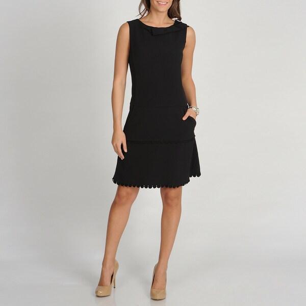 Marina Women's Black Sleeveless Drop Waist Dress