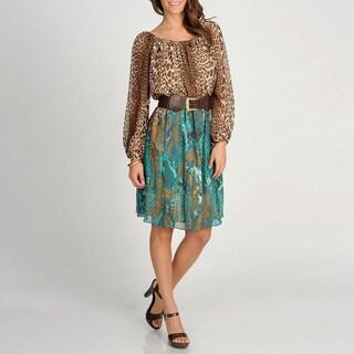 Marina Women's Animal Printed Two-tone Blouson Dress