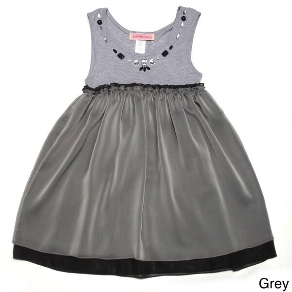 Paulinie Collection Girls' Gem Collared Sleeveless Dress