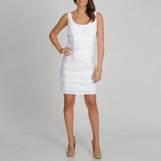 S.L. Fashions Women's White Sleeveless Tiered Dress