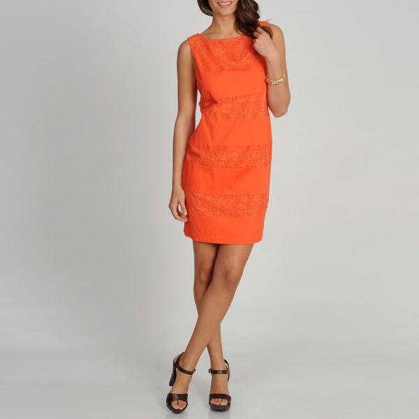 S.L. Fashions Women's Orange Lace Striped S.L.eeveless Dress