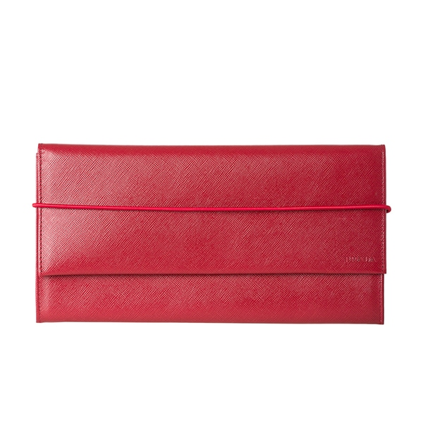 Prada Red Saffiano Leather Travel Wallet