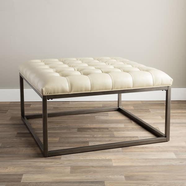 Miraculous Shop Strick Bolton Healy Cream Leather Tufted Ottoman Ocoug Best Dining Table And Chair Ideas Images Ocougorg