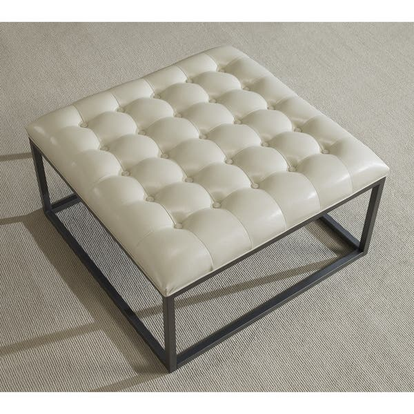 Peachy Shop Strick Bolton Healy Cream Leather Tufted Ottoman Ocoug Best Dining Table And Chair Ideas Images Ocougorg