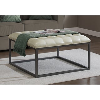 Carbon Loft Healy Cream Leather Tufted Ottoman