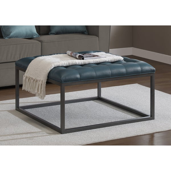 healy teal leather tufted ottoman - Tufted Ottoman Coffee Table