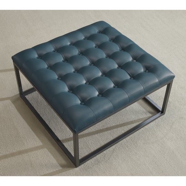 Healy Teal Leather Tufted Ottoman - Free Shipping Today - Overstock.com -  15254115 - Healy Teal Leather Tufted Ottoman - Free Shipping Today